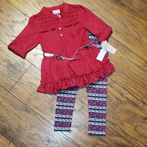 NWT Girl's 2-Piece Outfit by LITTLE LASS Size 5